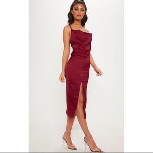 PLT Burgundy Strappy Satin Cowl Midi Dress
